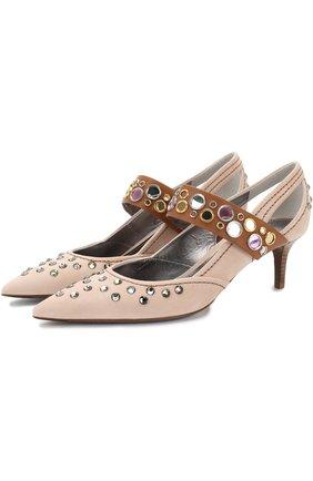 Замшевые туфли с кристаллами на каблуке kitten heel | Фото №1