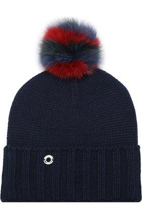Кашемировая шапка Funny Fox Hat с меховым помпоном | Фото №1
