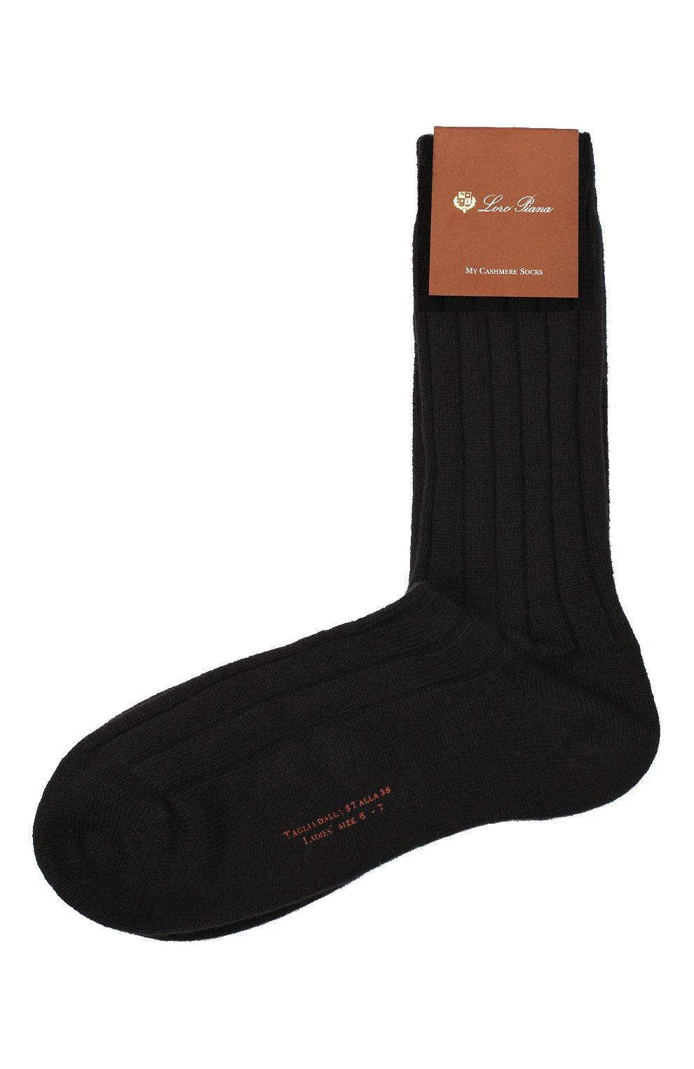 Женские кашемировые носки LORO PIANA темно-серого цвета, арт. FAF8553   Фото 1