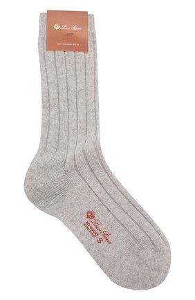 Женские кашемировые носки LORO PIANA светло-серого цвета, арт. FAF8553 | Фото 1