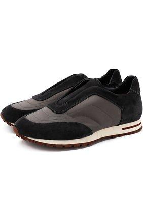 Мужские комбинированные кроссовки matchplay weekend open walk LORO PIANA темно-серого цвета, арт. FAI2053 | Фото 1