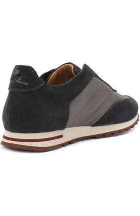 Мужские комбинированные кроссовки matchplay weekend open walk LORO PIANA темно-серого цвета, арт. FAI2053 | Фото 4