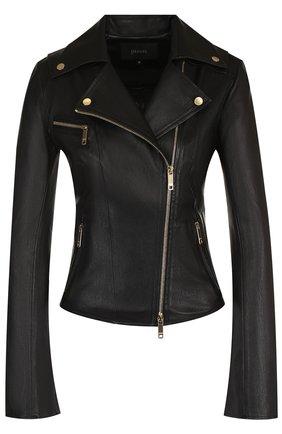 Женская приталенная кожаная куртка с косой молнией JITROIS черного цвета, арт. JACKET RIDER 4 FEMME AGNEAU STRETCH | Фото 1