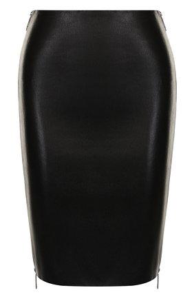 Кожаная мини-юбка с молнией по бокам | Фото №1