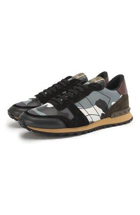 Мужские комбинированные кроссовки valentino garavani rockrunner VALENTINO светло-серого цвета, арт. QY2S0723/TCC | Фото 1