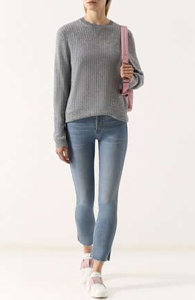 Женский однотонный кашемировый пуловер фактурной вязки FTC серого цвета, арт. 707-1100 | Фото 2