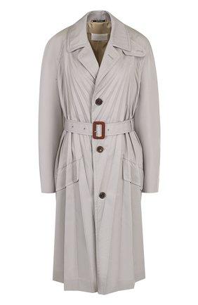 Однотонное пальто со складками и поясом Maison Margiela серого цвета | Фото №1