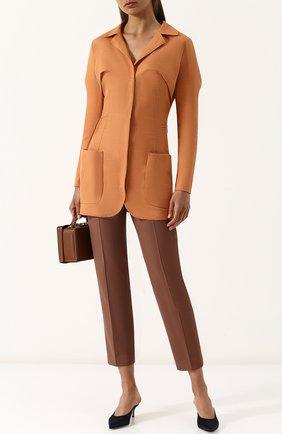 Однотонный льняной жакет с накладными карманами Jacquemus оранжевый   Фото №1