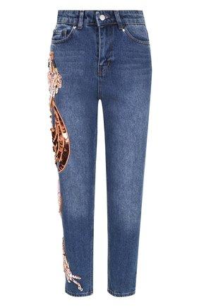 Укороченные джинсы с потертостями и декорированной отделкой Dalood синие   Фото №1