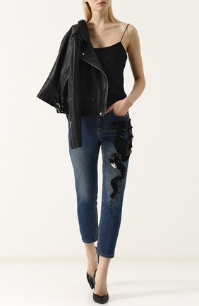 Укороченные джинсы с потертостями и декорированной отделкой Dalood голубые   Фото №1