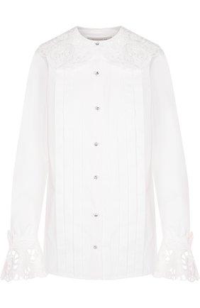 Однотонная хлопковая блуза с кружевной отделкой | Фото №1