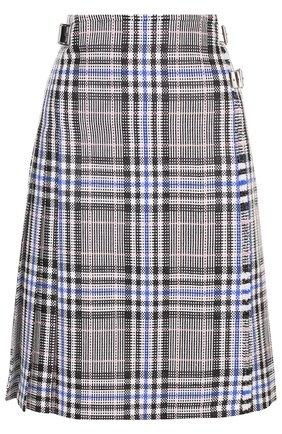Хлопковая юбка фактурной вязки в клетку | Фото №1