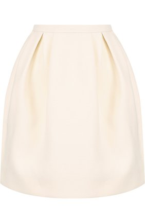 Однотонная мини-юбка из смеси шерсти и шелка | Фото №1