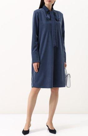 Однотонное платье с воротником аскот Van Laack синее | Фото №1