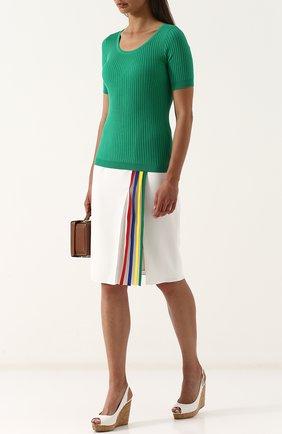 Женская топ фактурной вязки с круглым вырезом RALPH LAUREN зеленого цвета, арт. 290710190 | Фото 2