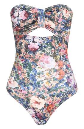 Слитный купальник с открытой спиной и цветочным принтом | Фото №1