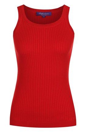 Женская однотонный хлопковый топ фактурной вязки RALPH LAUREN красного цвета, арт. 290710192 | Фото 1