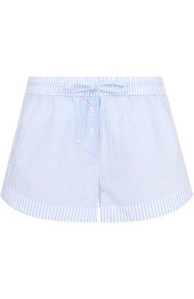 Хлопковые мини-шорты в полоску Mey голубые | Фото №1