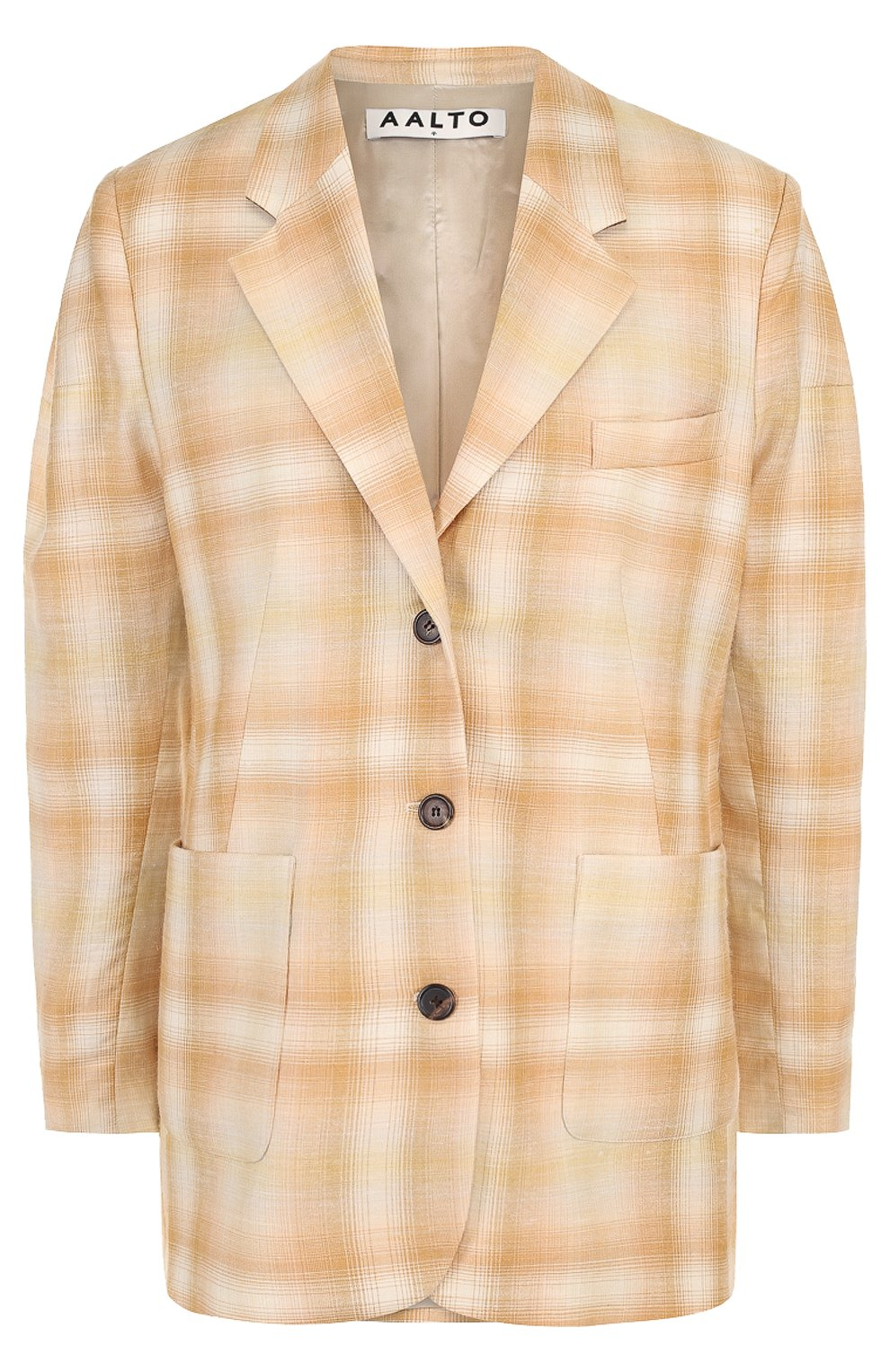 Жакет с накладными карманами из смеси шерсти и льна с шелком   Фото №1
