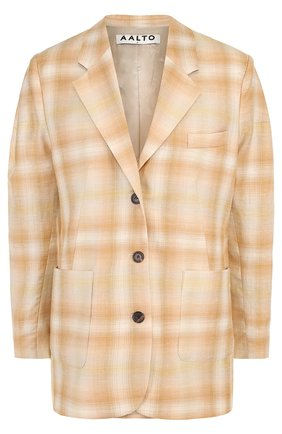 Жакет с накладными карманами из смеси шерсти и льна с шелком | Фото №1