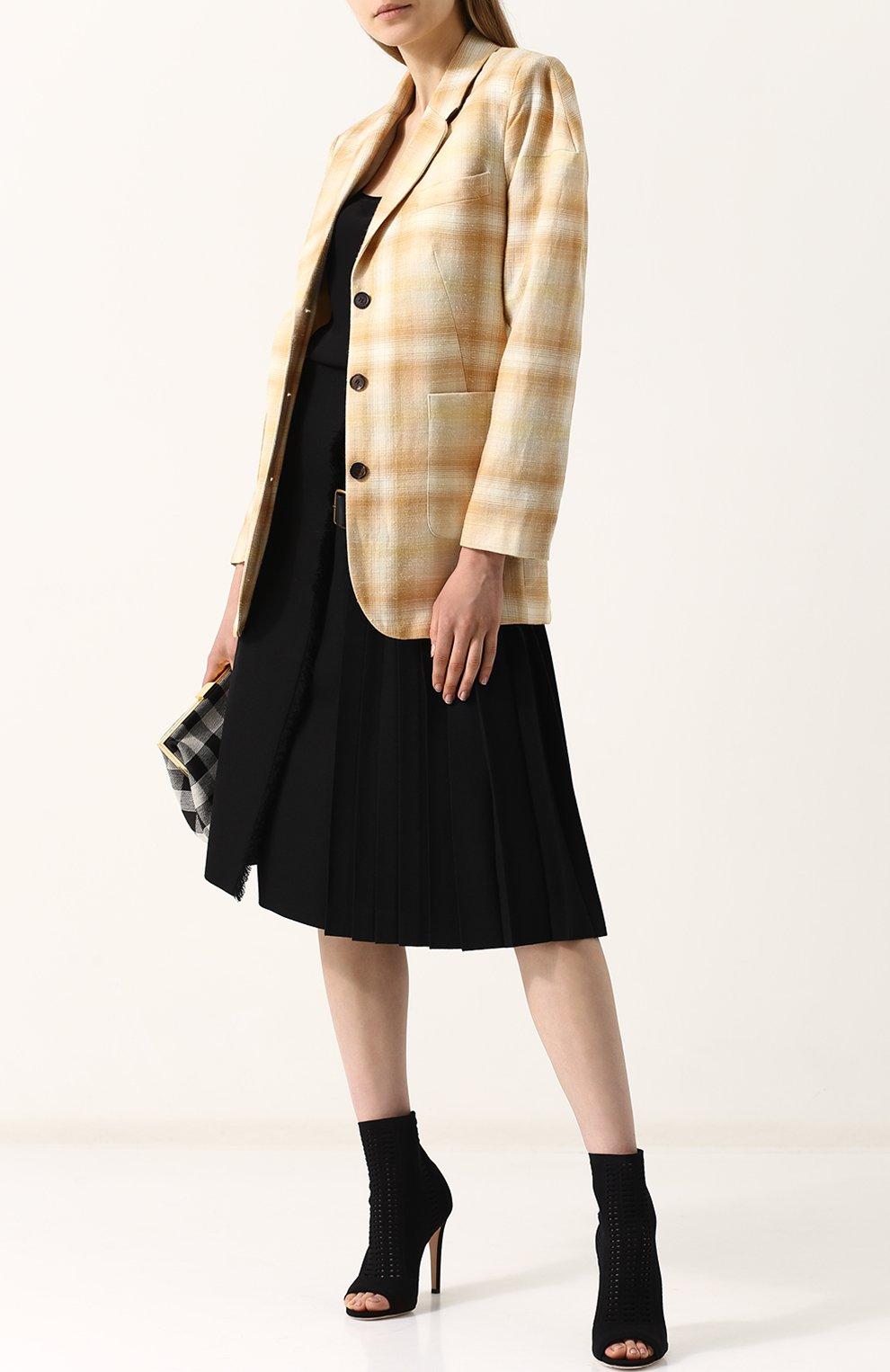 Жакет с накладными карманами из смеси шерсти и льна с шелком Aalto бежевый   Фото №2