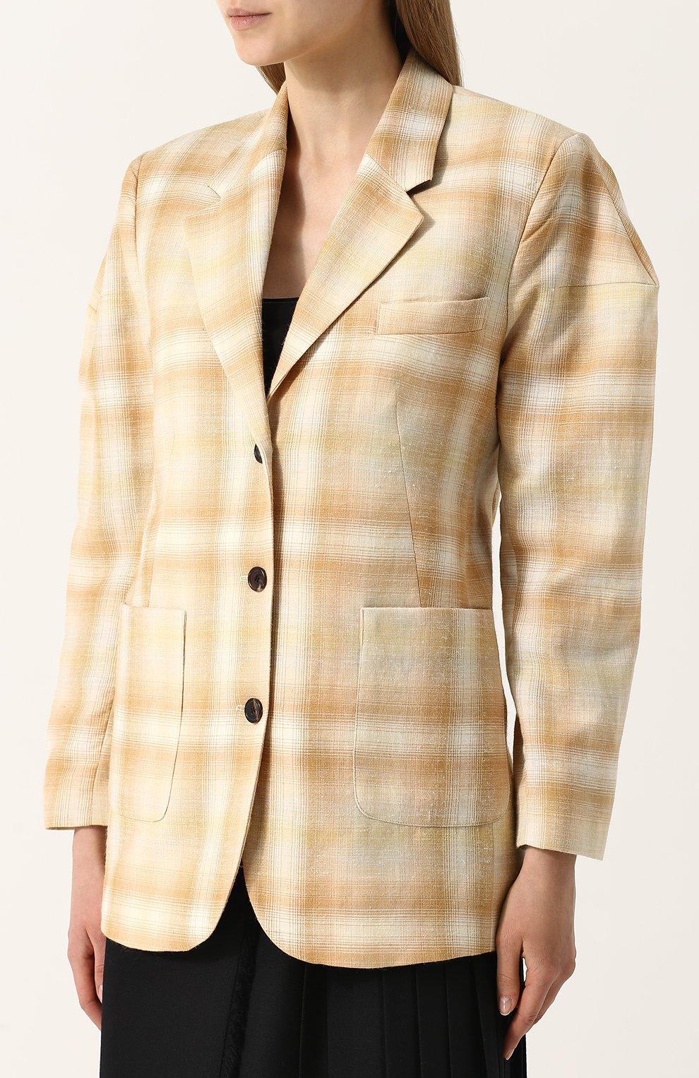 Жакет с накладными карманами из смеси шерсти и льна с шелком Aalto бежевый   Фото №3