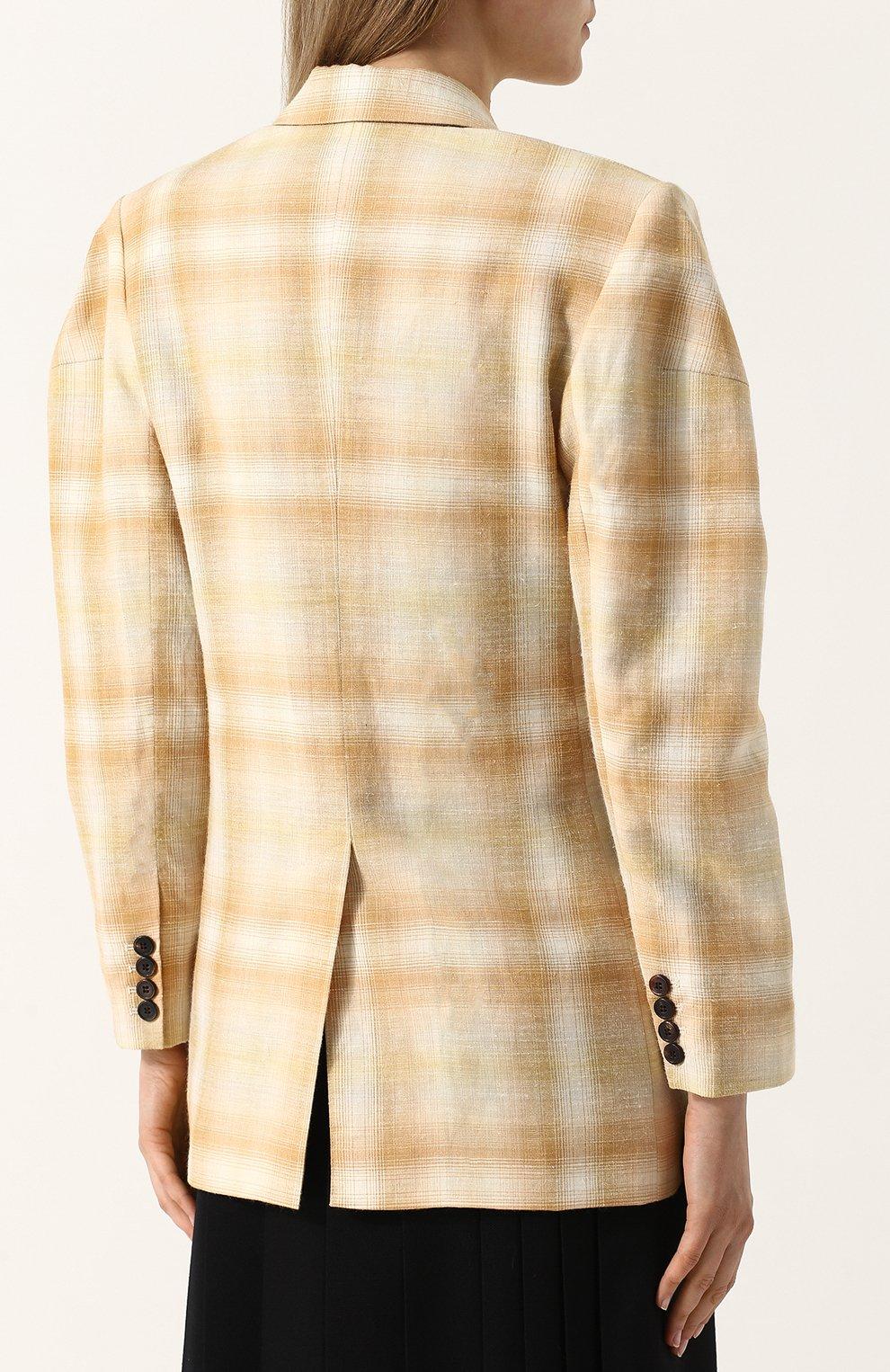 Жакет с накладными карманами из смеси шерсти и льна с шелком Aalto бежевый   Фото №4