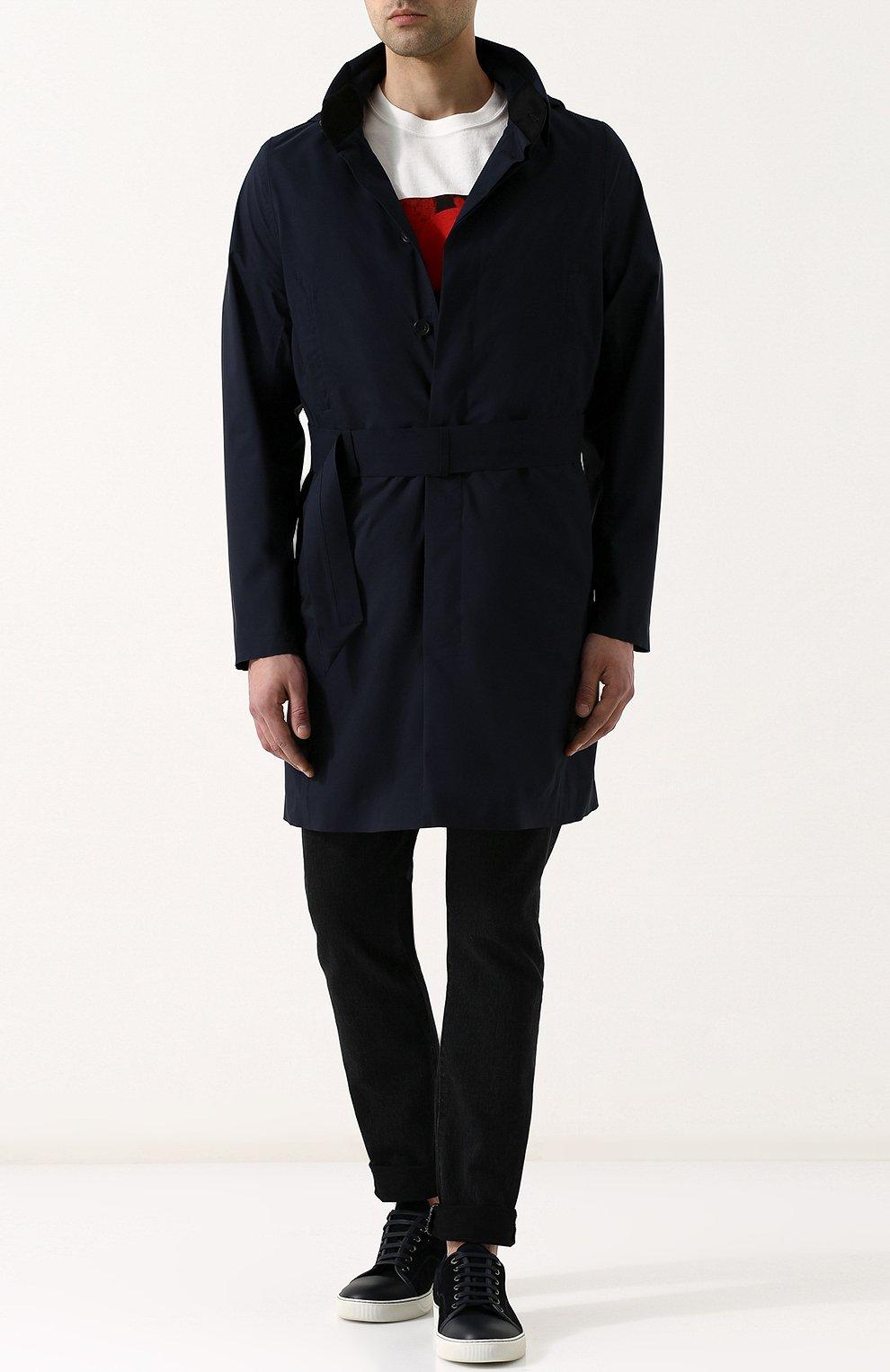 Мужской однобортный плащ на пуговицах с капюшоном NORWEGIAN RAIN темно-синего цвета, арт. SINGLE BREASTED MID/SLW | Фото 2