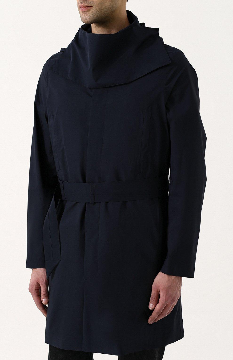 Мужской однобортный плащ на пуговицах с капюшоном NORWEGIAN RAIN темно-синего цвета, арт. SINGLE BREASTED MID/SLW | Фото 3