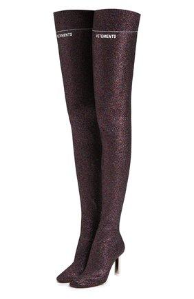 Текстильные ботфорты на контрастном каблуке | Фото №1