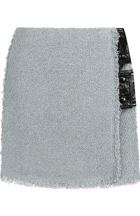Мини-юбка фактурной вязки из смеси вискозы и льна   Фото №1