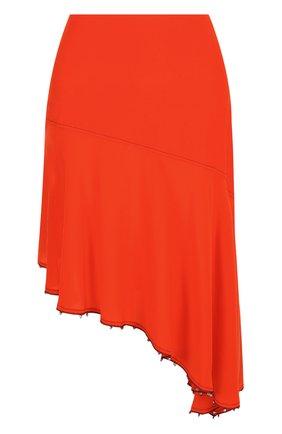 Однотонная шелковая юбка-миди асимметричного кроя  | Фото №1