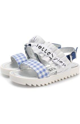 Кожаные сандалии с ремешком и декоративной оборкой   Фото №1