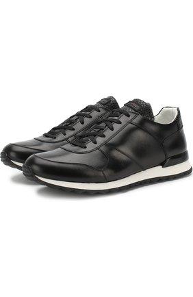 Мужские кожаные кроссовки на шнуровке с вставкой из кожи крокодила KITON черного цвета, арт. USSB0RIN00038 | Фото 1