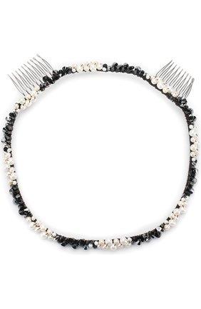 Ободок с отделкой бусинами Colette Malouf черно-белого цвета | Фото №1