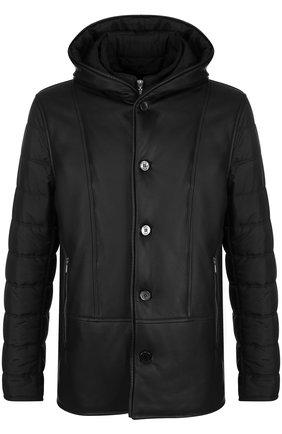 Шелковая куртка на молнии с кожаной отделкой | Фото №1