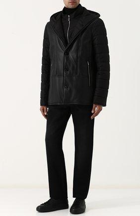 Шелковая куртка на молнии с кожаной отделкой | Фото №2