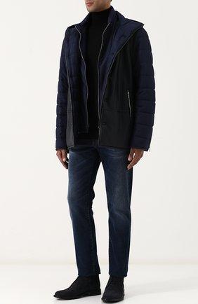 Шелковая куртка на молнии с кожаной отделкой Zilli темно-синяя | Фото №1