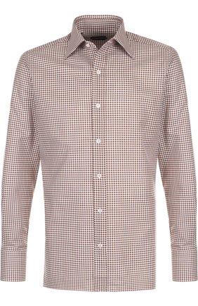Мужская хлопковая сорочка с воротником кент TOM FORD коричневого цвета, арт. 3FT673/94S1JE | Фото 1