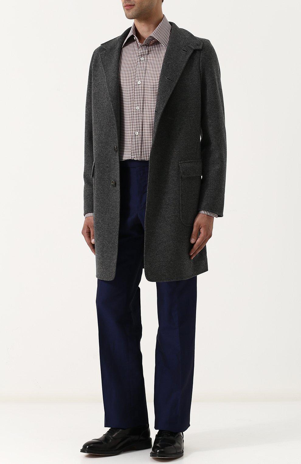 Мужская хлопковая сорочка с воротником кент TOM FORD коричневого цвета, арт. 3FT673/94S1JE | Фото 2