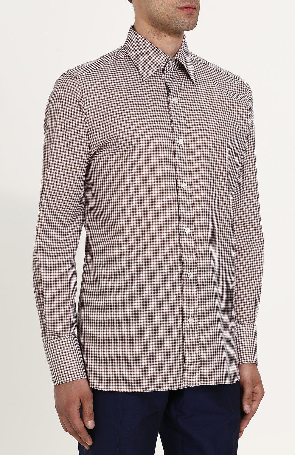 Мужская хлопковая сорочка с воротником кент TOM FORD коричневого цвета, арт. 3FT673/94S1JE | Фото 3