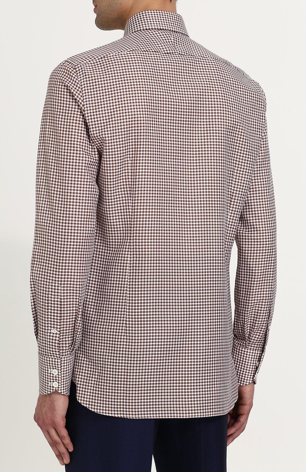 Мужская хлопковая сорочка с воротником кент TOM FORD коричневого цвета, арт. 3FT673/94S1JE | Фото 4