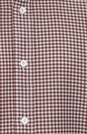 Мужская хлопковая сорочка с воротником кент TOM FORD коричневого цвета, арт. 3FT673/94S1JE | Фото 5