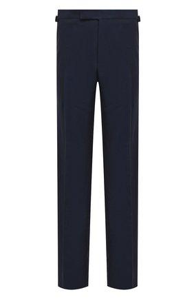 Мужской брюки прямого кроя из смеси льна и шелка TOM FORD синего цвета, арт. 316R20/610041 | Фото 1