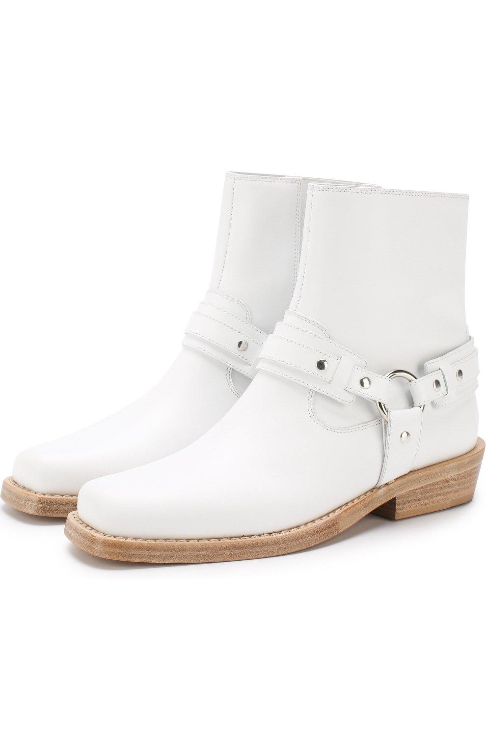 Женские кожаные ботинки с ремешками PACO RABANNE белого цвета, арт. 18PM0T0B03CAAFL | Фото 1