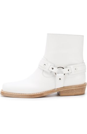 Женские кожаные ботинки с ремешками PACO RABANNE белого цвета, арт. 18PM0T0B03CAAFL | Фото 3