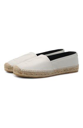 Женские кожаные эспадрильи с логотипом бренда SAINT LAURENT белого цвета, арт. 484890/0N060 | Фото 1 (Материал внутренний: Натуральная кожа; Подошва: Платформа; Каблук высота: Низкий)