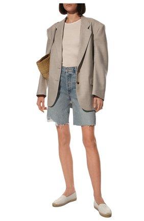 Женские кожаные эспадрильи с логотипом бренда SAINT LAURENT белого цвета, арт. 484890/0N060 | Фото 2 (Материал внутренний: Натуральная кожа; Подошва: Платформа; Каблук высота: Низкий)