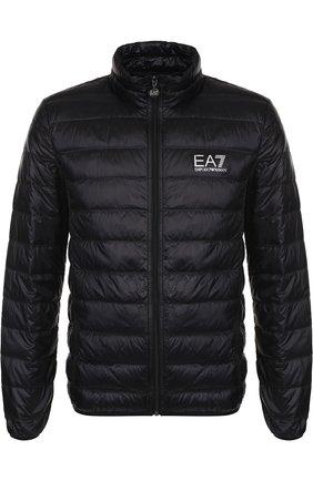 Пуховая куртка на молнии с воротником-стойкой Ea 7 черного цвета | Фото №1