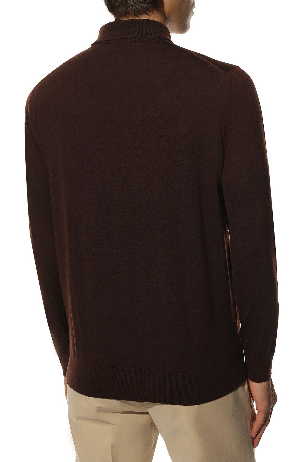 Мужское шерстяное поло LORO PIANA темно-коричневого цвета, арт. FAI2551 | Фото 4